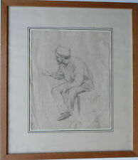 JOSE CUSACHS Y CUSACHS 1851-1908 ORIGINAL SIGNED DRAWING 'SEATED SOLDIER 1894'