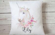 "Beautiful Personalised Unicorn - 16"" white cushion cover Shabby/Chic/Nursery"
