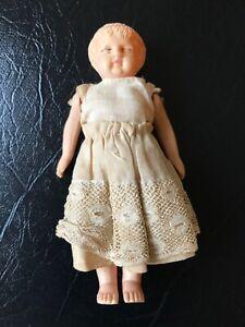 Vintage Celluloid Miniature Doll in Original Cotton/Lace Dress,Original Cond