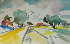 JOSE TRUJILLO ORIGINAL Watercolor Painting IMPRESSIONIST SUMMER FARM FARMING ART