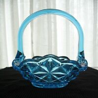 Indiana Glass Vintage Blue Monticello Handled Square Basket