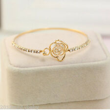 Vogue Women Gold Alloy Rose Hollow Out Crystal Wristband Bangle Bracelet Jewelry