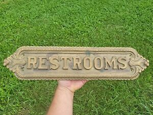 """Vintage Large Brass Restrooms Sign 8lb Plaque 22""""x5"""" Theater Bus Train Station"""