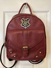 Harry Potter Hogwarts Burgundy Faux Leather Bag Purse Backpack Euc