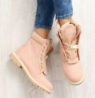 Ladies New Combat Ankle Boots Pink Women Military Army Shoes Lace Up Winter