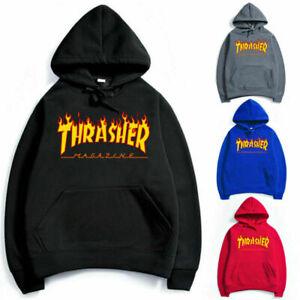 Unisex Men Women Hip-hop Hoodie Basic Skateboard Thrasher Sweatshirts Sweater