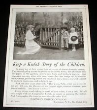 1919 OLD MAGAZINE PRINT AD, EASTMAN KODAK CAMERAS, KEEP A STORY OF THE CHILDREN!