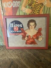 VINTAGE HIRES ROOT BEER LITHOGRAPH SIGN COCA COLA 7UP PEPSI ORANGE CRUSH DR PEP