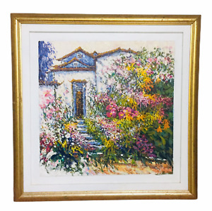 David P.H. Wong Oil Painting Vibrant Floral Framed 33X33