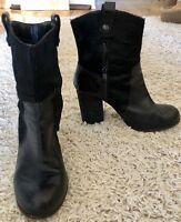 VINCE CAMUTO black leather fur Bennie mid calf round toe shoes boots sz 8 B