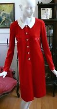 1980`s Red Adrienne Vittadini Designer Wool Blend Cocktail Dress Never Worn S