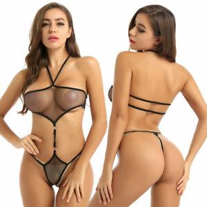 Damen Neckholder String Body Durchsichtig Bodysuit Babydoll Nachtwäsche Dessous