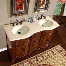 55-inch Creamy Marble Top Double Sink Bathroom Vanity Lavatory Cabinet 0719CM