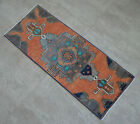 """Vintage Distressed Small Area Rug Hand Knotted Oushak Rugs Yastik -1'3""""x3'2"""""""