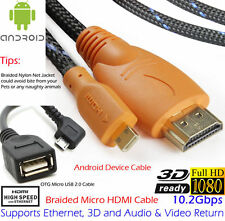 1080P Braided HDMI to Micro HDMI Cable+OTG Micro USB, some Andriod cell tablet