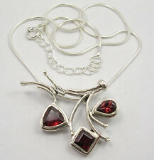 925 Solid Sterling Silver Garnet Gemstone Necklace