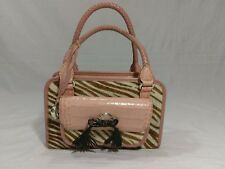 BRIGHTON Pink Leather Crocodile Print Calf Hair Zebra Print Hand  Bag Purse