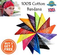 100% COTTON BANDANA Head Band Plain Flag Paisley Fancy Dress Costume Bandanna B3