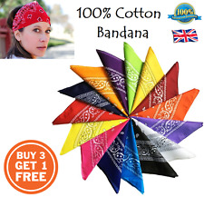 100% COTTON BANDANA Head Band Plain Flag Paisley Fancy Dress Costume Bandanna B3