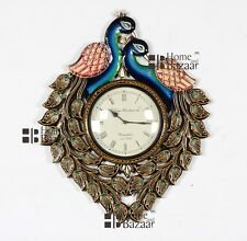 Traditional Rajasthani Hand Painted Wooden Peacock Shape Wall Clock - 456