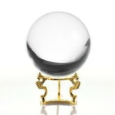 Crystal Ball Quartz Clear 5in (130mm) With Gold Dragon Stand USA Seller