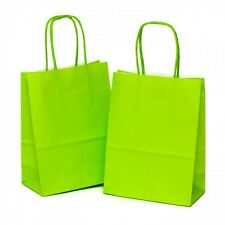 100 x Lime Green Gift Paper Bags with Twisted Handle - 18cm x 22cm x 8cm (SMALL)