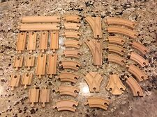 Nice Lot of 37 Wooden Train Tracks Compatible With Thomas Engine & Brio