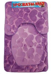 Luxury 3PC  Soft Memory Foam Bath Set Bath Mat Toilet Cover Contour Heart Design