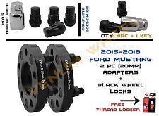 (2) 20MM Wheel Spacers Adapter For 2015 2016 2017 Mustang GT+Black Wheel Locks