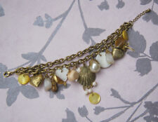 Charm Bracelet Gold Tone Shells Holiday Beads Spring Summer Chunky Gift Ladies