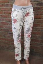 ITALIA Pantaloni tuta fiori stampa fiore Taglia unica Hippie OVERSIZE 36 38 40