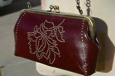 NEW Patricia Nash purse studded floral collection clutch wallet burgandy leather