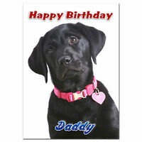 098; Personalised Birthday card; little Black labrador; make it for any name age