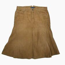 fe83faa501a094 New Polo Ralph Lauren Flare Skirt Womens 14 Brown Cotton Corduroy Buckle  Back