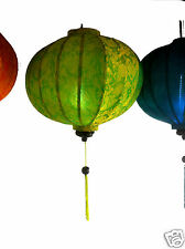 "VIETNAMESE ORIENTAL SILK &BAMBOO HANDCRAFTED LANTERN LAMP chinese green 20"" L v1"