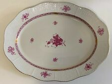 """Herend: Chinese Bouquet, Raspberry 16.5"""" x 12.5"""" Large Oval Serving Tray Platter"""