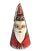 Santa Claus Christmas Ornament Russian Hand Painted Wooden Cone Shape Decoration