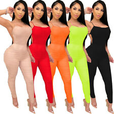 Women Sexy Spaghetti Strap Pleated Bodycon Backless Night Club Jumpsuits