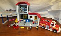 Playmobil 3175 - Large Fire Station & 5843 Rescue Truck w/Manual & Add-ons!