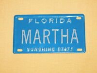 "VINTAGE 4"" X 2 1/4"" METAL MARTHA  FLORIDA SUNSHINE STATE  MINI LICENSE PLATE"