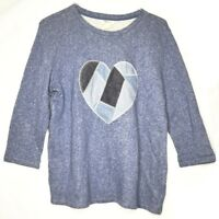 Style & Co M Sweater Blue Patch Heart Long Sleeve Womens Crew Neck Size Medium