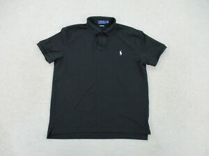 Ralph Lauren Polo Shirt Adult Large Black White Pony Stretch Mesh Rugby Men A69