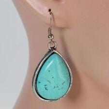 Pretty Turquoise Chandelier Dangle Earrings Retro Tibetan Silver Teardrop Style