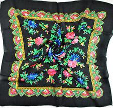 charm Women's Flowers print black square scarf 70cm