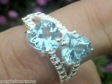 4 carats Two Hearts That Beat As One Topaz And Sterling Silver Ring Size 7