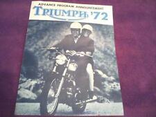 1972 Triumph motorcycle sales brochure(Reprint) All 1972 Model Triumph's $12