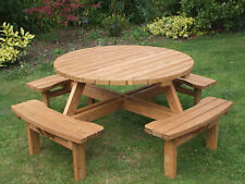 Buy Round Wooden Up To Seats Garden Patio Tables EBay - 8 seater round picnic table
