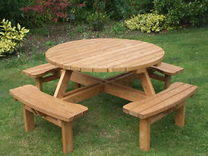 8 Seater commercial pub style round picnic table