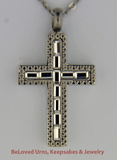 Mirror Cross Cremation Jewelry Pendant Keepsake Urn w/ Funnel & Necklace - Ashes