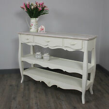 cream wooden country style hall console table storage shelving unit furniture
